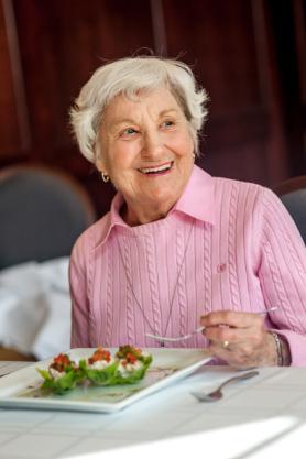 Woman enjoying meal